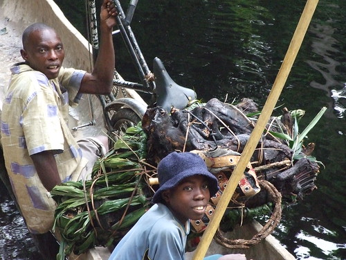 bicycle with bushmeat load