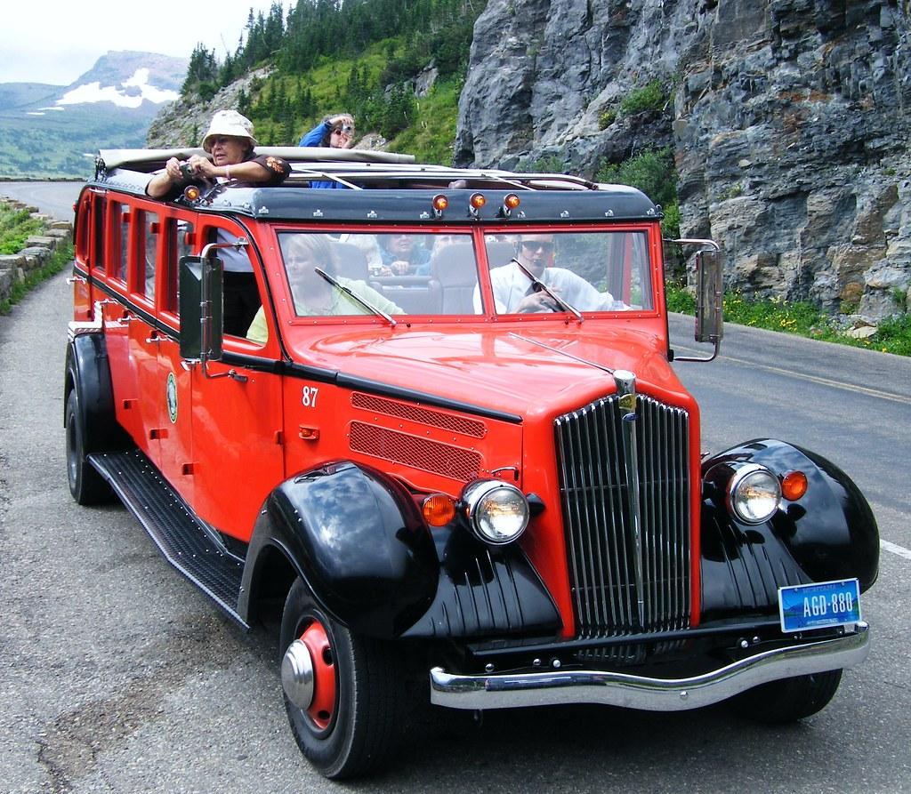 red bus (Glacier Park)