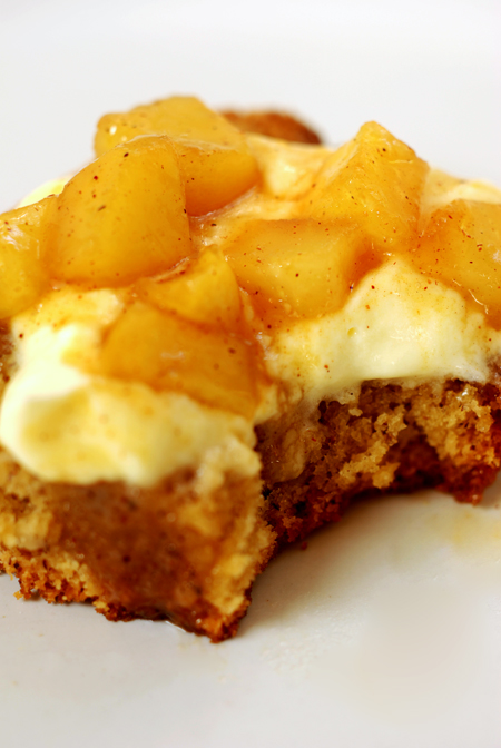 hazelnut cake with cream and apple compote© by Haalo