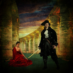 The Send Off (daybeezho) Tags: red woman man columns pirate sword makeitinteresting sharingart