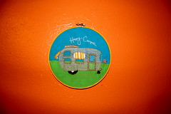 Happy Camper Embroidery (becksorange) Tags: orange handmade embroidery stitches create etsy crumpets strumpets thingsimade embroider colororange orangeyouglad strumpet wwwstrumpetscrumpetscom becksorange strumpetmade