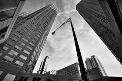 (Kevin Dickert) Tags: city sky urban blackandwhite bw chicago silhouette skyline architecture clouds buildings downtown cityscape skyscrapers loop towers wideangle lookingup canon5d hdr highdynamicrange highrises density presidentialtowers uwa urbanity canonef1740mmf4l abovestreetlevel willistower iamhydrogen kevindickert