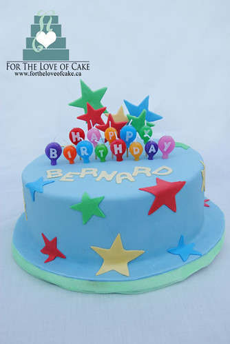 birthday cake with stars created by www.fortheloveofcake.ca