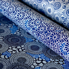 Blue flowers (karaku*) Tags: blue flower art japan paper japanese design pentax patterns textures washi k100d