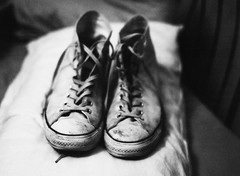 This is my first picture that I took using my medium format! (Ashton Jean-Pierre) Tags: white black 120 film star all bokeh pillow crisp bronica converse f28 laces 75mm etrs