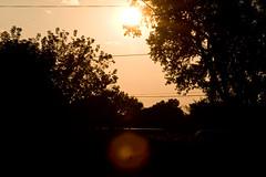 Lens flare, orange sky