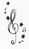 music notes and stars
