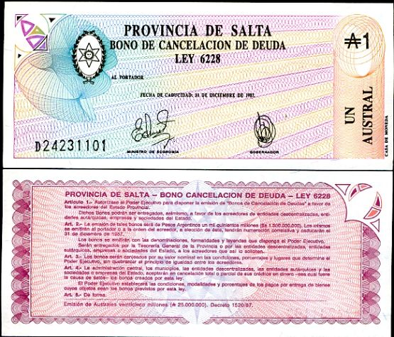 1 Austral Argentína 1987, Pick s2612