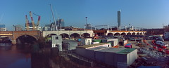 Ordsall Chord building site (Rupert Thomson) Tags: ordsall chord railway bridge manchester river irwell beetham tower brick arches concrete panasonic dcmtz60 lumix winter blue skies sunshine cold crane building site gimp microsoft ice ufraw panorama