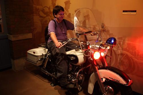 Pauline on a police bike