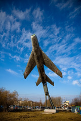 (Sergey Lyapustin) Tags: sky monument airplane star moss spring fighter force power russia air soviet strike airforce polarizer deserted coldwar mig ussr dyural