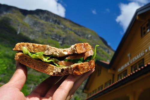 Holding up my salmon sandwich at the Flåm harbor and railway station -- Full-sized Nikon D5000 photo with NEF / RAW file download -- DSC_1622