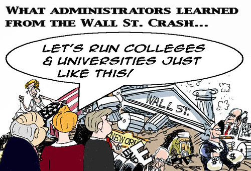 wall street, collapse, higher education, community college, university, administrators