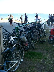 Mass of bikes locked to rail