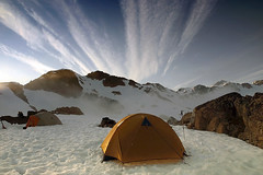 Brandywine Base Camp? (Christopher J. Morley) Tags: canada tents bluesky rockoutcroppings coolclouds beautifulbritishcolumbia campingspot brandywinemountain itiswonderful 100commentgroup sleepingonsnow mywanderungcompanions staceydorothyerin withagoodmatandbag werepositivelywonderful