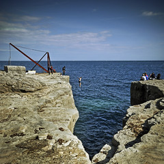 tombstone blues (petervanallen) Tags: rock portland landscape coast bill nikon tombstone dorset jurassic d90 tombstoning
