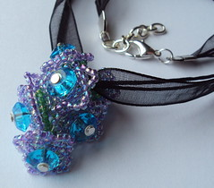 Blue Belle (fivefootfury) Tags: flowers necklace jewelry beaded pendant beadwork blackribbon blueflowers purpleandblue bluebelle ribbonnecklace beadedflowers ebwteam