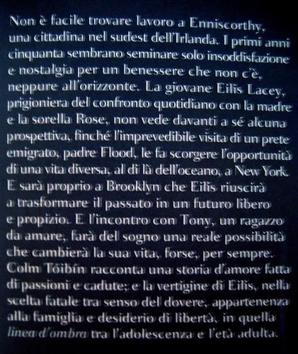 Colm Tóibín, Brooklyn, Bompiani 2009; Progetto grafico di Polystudio; risvolto di copertina (part.) 2