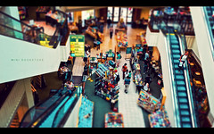 Mini Bookstore (isayx3) Tags: 35mm shopping losangeles dvd nikon thegrove escalator books bookstore faux cds f2 min d3 barnesnoble tiltshift plainjoe isayx3