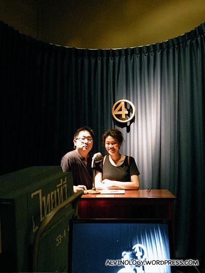 Rachel and I on camera