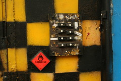 IMG_2379 (theycallmetelly) Tags: door black yellow nl checkered flamable northholland amsterdamnetherlands crakcedpaint