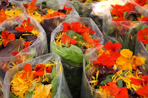 Mixed Greens with edible flowers