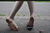 Barefoot (Artistic Feet) Tags: blue woman black cute feet stockings girl yellow socks female fun outside outdoors toes long pretty legs skin artistic outdoor bare gorgeous emo goth smooth arches pale barefoot kawaii heels expressive stripey soles striped ankles ubersexy