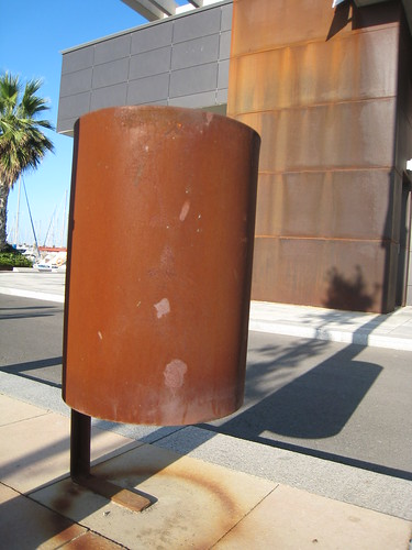 Rusty trash can