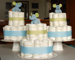 mini diaper cake centerpieces (monika dabrowski) Tags: blue decorations baby green make cake table shower natural handmade mini diaper host homemade elephants organic favors centerpieces
