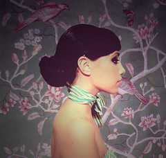 Ever, lasts forever (monsters.monsters) Tags: wallpaper woman inspiration flower girl birds female vintage industrial stripes branches profile piercing bow posture