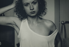 Me b&w (sakuri_lepestochek) Tags: bw white girl eyes erotic nipples tshirt retro shoulder