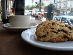 Blackcurrant Scone + Coffee @ Tartine