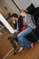 Dan Meth and Katie Brown...sat down... (Irish Wonderboy) Tags: newyork illustration leeds cartoons nti oldbroadcastinghouse danmeth