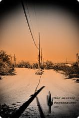 Backroads (Lisa Van Alstyne) Tags: arizona mountains photoshop canon weekend tritone memories pickup views vista dirtroad backroads vignette topaz wildwildwest cs3 roundedcorner electricpoles weekendphoto