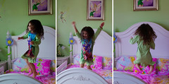 {Rhianna 365} Day 19 - Jumping on her bed (citygirlny10305) Tags: pink white 3 cute green girl fun happy jumping bed funny longhair adorable tinkerbell naturallight fairy pjs headboard barefeet fairies storyboard pajamas jumpingonthebed todder littlegirlsroom 365project dypstick