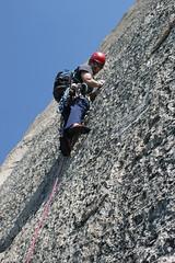 "Brian leading ""Crying Time Again"" (davidinthewild) Tags: climbing tuolumnemeadows cryingtimeagain"
