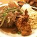 beef steak and furikake shrimp