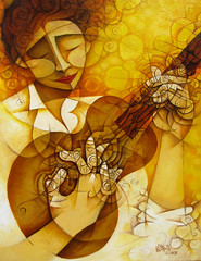 Man and Guitar IV (Paul N Grech) Tags: musician music art painting movement guitar modernart musical kinetic harmony guitarist oilpainting cubist cubism grech paulgrech