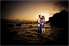 The Couple on Fire (Extra Medium) Tags: ocean sunset beach engagement explore frontpage elmatador strobist elmatadorstatebeach jordanmegan
