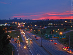 Kansas City Skyline & I-70 after sunset, 22 July 2009 (photography.by.ROEVER) Tags: summer sky skyline night evening downtown july kansascity freeway interstate expressway kc 2009 i70 interchange aftersunset interstate70 kansascitymo jacksoncounty kansascitymissouri kansascityskyline kansascitymetro kcmetro stadiumdr
