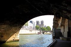 Notre Dame de Paris (arka02) Tags: bridge paris france water beautiful saint seine river de boat shadows view under pont michel notre dame petit arka02