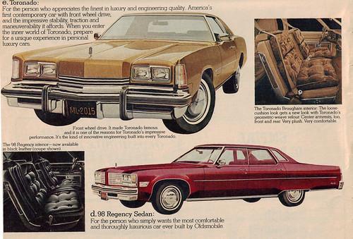 1976 Oldsmoblie Ninety Eight and Toronado
