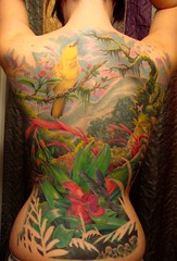 Full rainforest backpiece - Complete (crecia) Tags: flower tree bird tattoo rainforest hummingbird linda jungle backpiece yellowbird queenstears