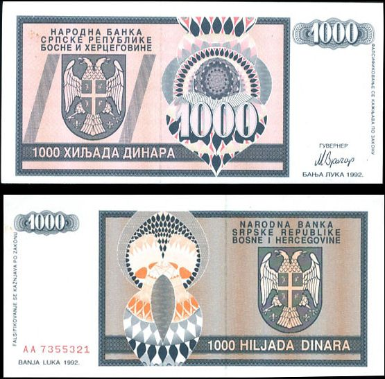 Boasna a Hercegovina - BOSNIA 1000 1,000 DINARA 1992 P137
