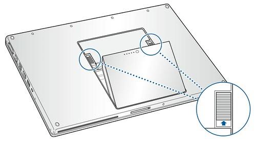Esquema de la retirada de la batería en un MacBook Pro