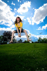 JUMP summer, yeah! (laurenlemon) Tags: park summer portrait selfportrait me girl clouds jump jumping colorful action bluesky memorialday jumpshot jumpology strobist canoneos5dmarkii laurenrandolph laurenlemon