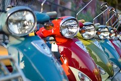 SCOOTER Parking ONLY (dogwelder) Tags: california blue red green rainbow mirrors headlights line vehicles scooters zurbulon6 pricetag northhollywood 50mmprimelens zurbulon nohoscooters nonmetering
