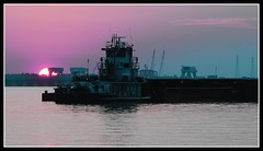 Working through the night (joehall45) Tags: sunset lake haze tug barge otw goldenstar spiritofphotography