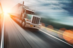 Truck on freeway (Konstantin Sutyagin) Tags: road old travel blue light sunset summer sky usa sun motion blur color green industry sunshine clouds rural speed america truck sunrise vintage landscape outdoors photo moving twilight highway industrial day driving shine view dynamic angle bright diesel dusk horizon wide perspective scenic fast sunny blurred nobody front cargo retro diagonal business direction american transportation freeway flare delivery vehicle interstate trailer copyspace shipping tilt rapid speeding freight tilted trucking shipment transporting