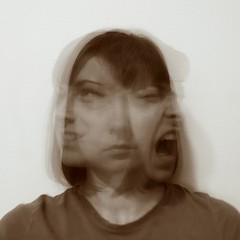 trinity (Katie Tegtmeyer) Tags: longexposure portrait woman selfportrait girl mouth happy three sad close opposite head scream emotions